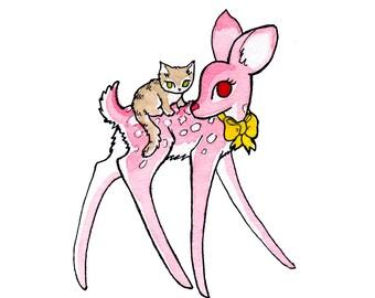 Ruby pink deer -  A4 PRINT.