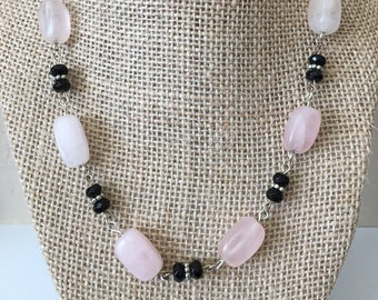 Rose Quartz Necklace, Pink Necklace, Black Necklace, Chunky Wire Wrapped Gemstone Necklace
