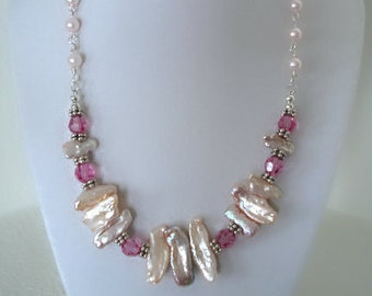 Biwa Pearl Necklace, Biwa Pearls with Swarovski Crystal, Pink Necklaces, Pearl Necklaces, June Birthstone Necklace