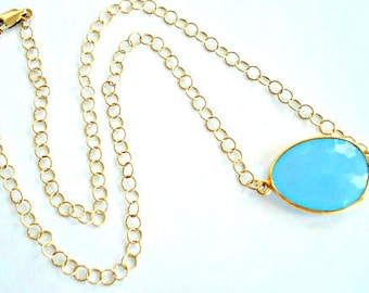 Blue Chalcedony Necklace, 14kt Gold Necklace, aqua blue gemstone, simple minimalist everyday necklace, gift for her