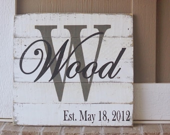 Last name sign, wedding sign, established sign, pallet sign, name sign, pallet signs, last name signs, name signs, name sign white