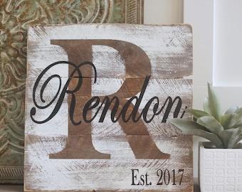 Last name sign, wedding sign, established sign, monogram sign, pallet last name sign, pallet sign, wedding sign, pallet sign