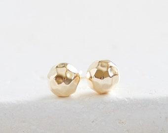 Beaten gold ball stud earrings