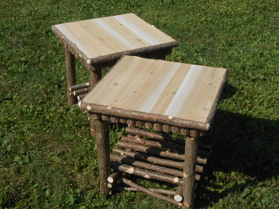 Twig Furniture Log Furniture Rustic Handcrafted Handmade Log End Tables Set  of Two