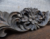 Wood applique Decorative 15 quot pediment architectural Victorian French Country ornamental furniture wall embellishment Supplies
