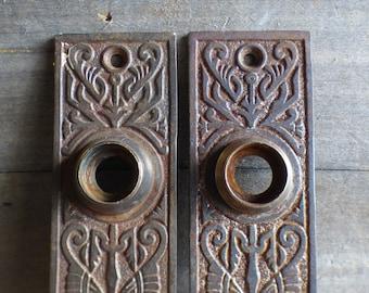 1800s? Taken off Municipal Building Vintage Antique Door Push Plate Copper
