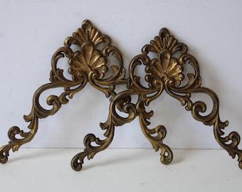 Vintage Brass Furniture Ormolu Hardware Antique Clock Mount Art Nouveau Old