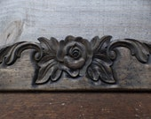 Architectural wood pediment 31 inch flower furniture window mirror embellishment Shabby French Country Supplies