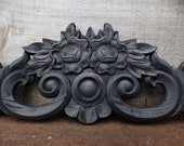 Wood applique Decorative 23 quot pediment architectural Victorian French Country floral bouquet ornamental furniture wall embellishment Supplies