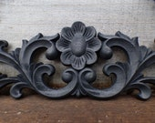 Wood applique Decorative 23 quot pediment architectural Victorian French Country floral flower ornamental furniture wall embellishment Supplies