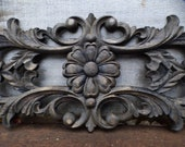 Wood applique large Decorative pediment architectural Victorian French Country ornamental furniture wall embellishment Supplies