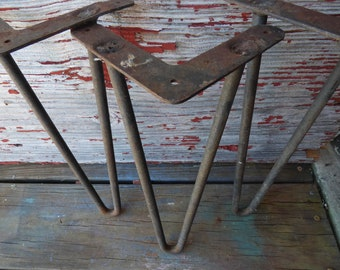 3 Vintage Hairpin Table Legs Steel Furniture Supplies Mid Century Modern  Architectural Salvage Tripod Stand