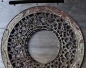 Antique Cast iron Grate chimney cover Art Nouveau decorative 15 3 4 quot circle round Architectural salvage