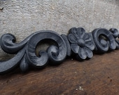 Wood applique Decorative 12 quot pediment architectural flower Victorian French Country ornamental furniture wall embellishment Supplies