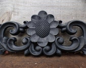 Wood applique 23 quot pediment architectural Victorian French Country big flower ornamental furniture wall embellishment Supplies