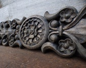 Wood applique Decorative 23 quot pediment architectural Victorian French Country ornamental furniture wall embellishment Supplies