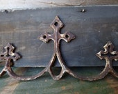 Antique iron fence pediment Cross cathedral parts Architectural salvage supplies French Country aged patina
