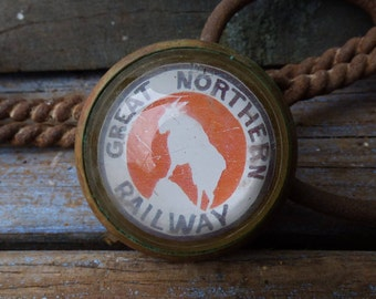 """Antique Horse bridle Rosette Glass dome """"Great Northern Railway"""" railroad Equestrian tack  Barn salvage Show harness"""