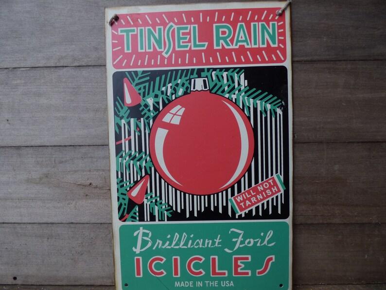 Vintage Advertising Sign Tinsel Rain Christmas Icicles Tin Etsy