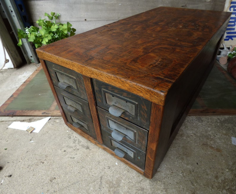 Vintage Wood File Cabinet 6 Drawer Long Narrow Library Filing Rustic Office  Home Storage