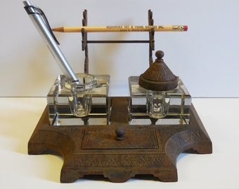 Vintage Inkwell cast iron 2 glass ink pots Eastlake w/ pen holder stand Desk Writing Library Study
