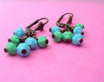 Seaweed and Water, Czech Glass Cluster Earrings