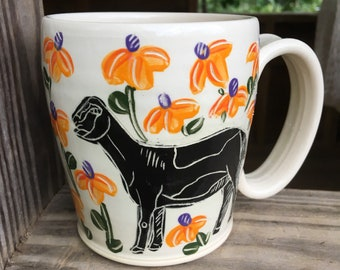 Goat mug, coffee mug, handmade pottery mug, teacup