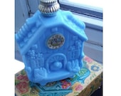1972 Avon Enchanted Hour - vintage 70s decanter, stamped, blue milk glass perfume fragrance bottle, cuckoo clock original box