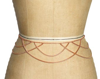 Rose Gold Draped Chain Belt