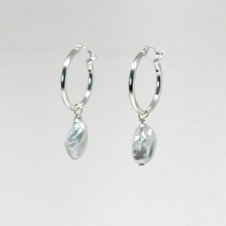 Baroque Pearl Drop Hoop Earrings