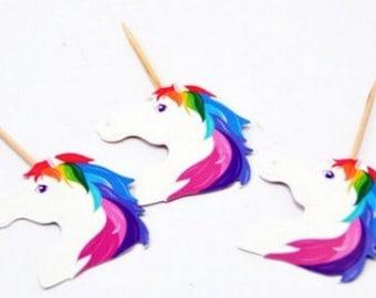 Unicorn Tooth Picks set of 24