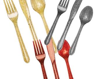 Gold  Silver OR Red Sparkle Glitter Premium Utensils-set of 24