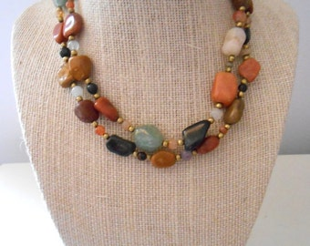 Vintage Natural Stone Boho Bead Necklace