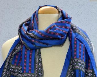 Long Vintage Scarf: Paisley, Arabesque, Stripes, Cobalt Blue, Pink