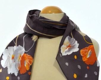 Long vintage scarf: Dots, Grey, Flowers, Ribbons, Orange, White, Silver