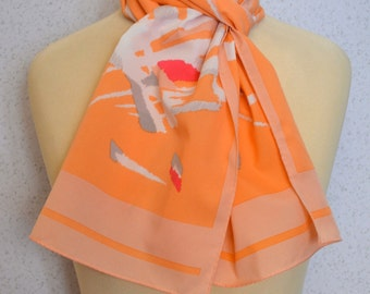 Long vintage scarf: Coral and Pale Pink by Monique Martin