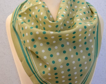 Spring Green and Emerald Green Polka Dot Sheer Vintage Square Scarf
