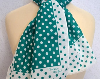 Emerald Green and White Long Vintage Polka Dot Scarf