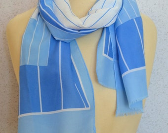 Blue and White Geometric Stripes Long Vintage Scarf by Monique Martin