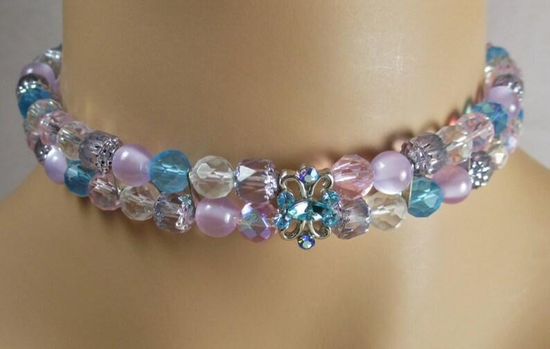 Cristal facetado Arco Iris Gargantilla Collar Babero con cuentas cadena roja verde azul rosa