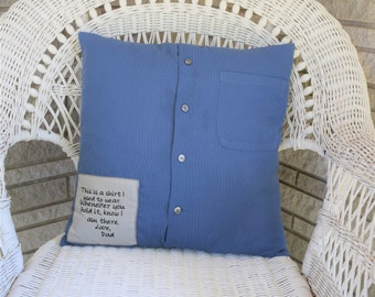 Memory Keepsake Pillow made from loved one's shirt with embroidered patch