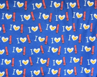 I love heart bacon print flannel pants  pajama dorm lounge custom made to order your choice size XS - 2X