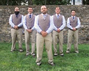 Wedding Party Men's Vest Groomsmen Groom Custom Made to Order wool tweed, stripe, herringbone, glen plaid