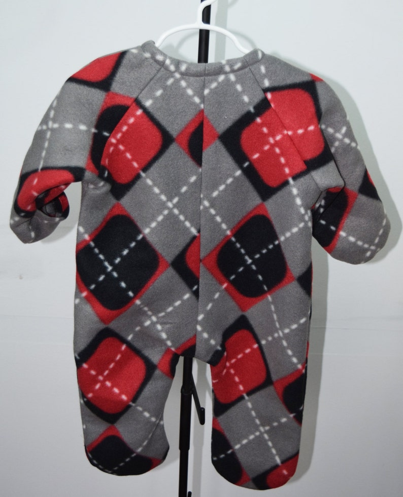 Baby Bunting with hat in Argyle in Grey and Black print fleece outerwear Red