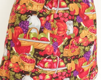 Apron Half Hostess fruit and vegetable print bright colors