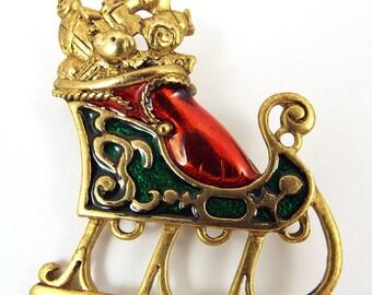 Santa/'s Sleigh Brooch Broche Pin Green Red Enamel Gold Tone Christmas Seasonal Vintage Jewelry Vendimia Joyeria