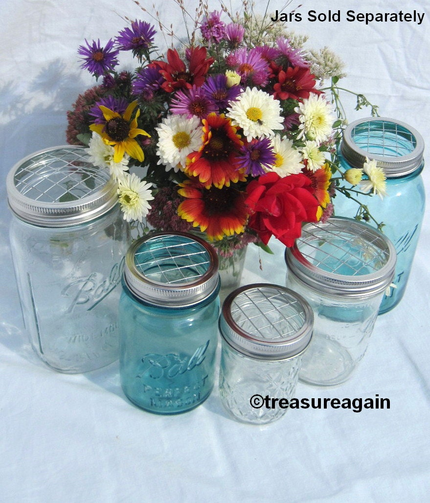 mason jar flower lid mixed sizes 5 upcycled flower frog. Black Bedroom Furniture Sets. Home Design Ideas