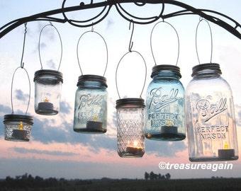 DIY Ball Jar Lanterns Lids Mason Jar Lanterns Hanging Candles or Flower Vases, Gold or Silver Twist On Lids only, no jars