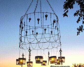 Cottage Garden Mason Jar Shabby Chic Chandelier SOLD Wedding Vintage Lighting Garden Ball Jar Candle Lanterns Recycled Garden Fence