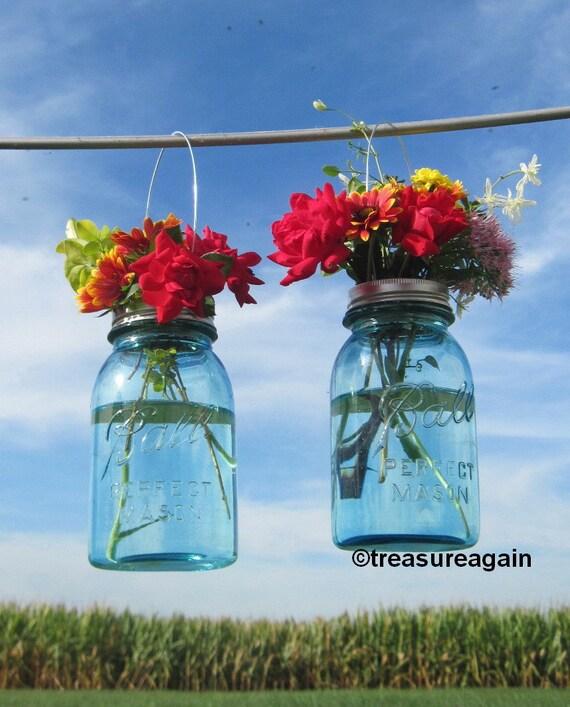 2 Hanging Mason Jar Vases With Flower Frog Lids Wedding Mason Etsy